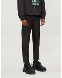 Prada Contrast-panel Nylon And Cotton-blend jogging Bottoms - Black