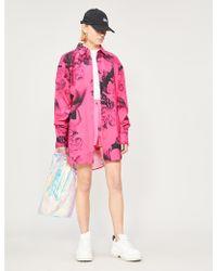 Angel Chen Graphic Pattern Oversized Cotton Shirt - Pink
