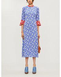 HVN Ashley Floral-print Flared-hem Silk Dress - Blue