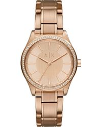 Armani Exchange - Ax5442 Crystal-embellished Rose-gold Plated Watch - Lyst