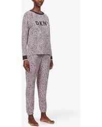 DKNY Logo-detail Animal-print Stretch-jersey Pyjama Set - Multicolour