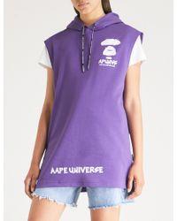 Aape - Branded Sleeveless Cotton-jersey Hoody - Lyst
