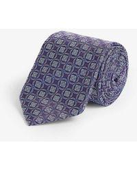 Eton of Sweden Circled Square-print Silk Tie - Purple