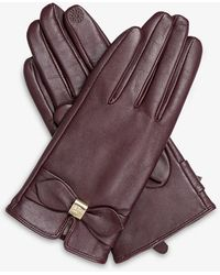 Dents Touchscreen Bow-detail Leather Gloves - Purple