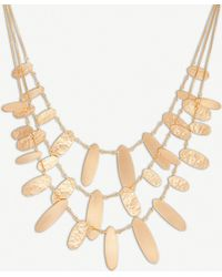 Kendra Scott - Nettie Hammered Tab 14ct Rose Gold-plated Necklace - Lyst