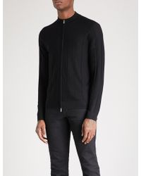 Armani - Stand-collar Ribbed Wool Cardigan - Lyst