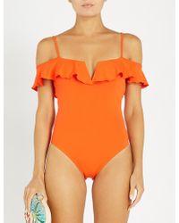 Lazul Cara Cold-shoulder Swimsuit - Orange