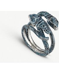 Gucci - Garden Sterling Silver And Enamel Snakes Ring - Lyst