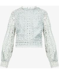 Amy Lynn Crocheted High-neck Lace Top - Blue