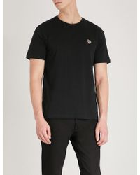 PS by Paul Smith - Zebra-embroidered Cotton-jersey T-shirt - Lyst
