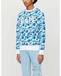 A Bathing Ape Abc Camouflage Cotton-jersey Tracksuit Jumper - Blue