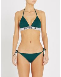 b13f11900c Lyst - Calvin Klein Girls Intense Power Triangle Bikini Set in Pink