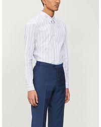 Emporio Armani Striped Regular-fit Cotton Shirt - Blue