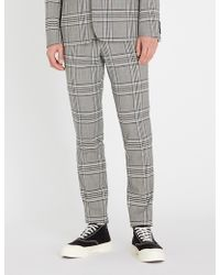Sandro Wales Check High-rise Wool Pants - Gray
