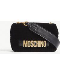 Moschino - Black Quilted Logo Velvet Cross Body Bag - Lyst