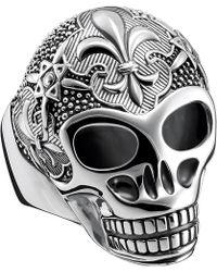 Thomas Sabo Rebel At Heart Sterling Silver Skull Ring - Metallic