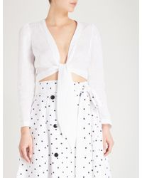 Lisa Marie Fernandez Tie-front Linen Top - White