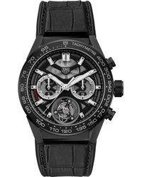 Tag Heuer - Car5a90.fc6415 Carrera 02t Tourbillon Ceramic And Leather Strap Watch - Lyst