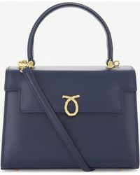 Launer Traviata Navy Leather Top Handle Bag - Blue
