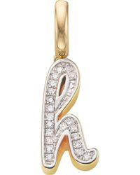 Monica Vinader 18ct Yellow-gold Vermeil And Diamond Alphabet Pendant H - Metallic