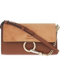 Chloé - Faye Leather And Suede Chain Wallet Bag - Lyst