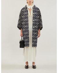 Jil Sander Cropped-sleeve Graphic-print Brocade Coat - Blue