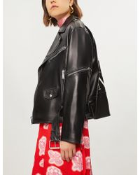 Valentino - Vltn Logo-back Leather Jacket - Lyst