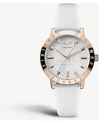 Vivienne Westwood - Vv152whwh Bloomsbury Rose Gold-plated Stainless Steel And Leather Strap Watch - Lyst