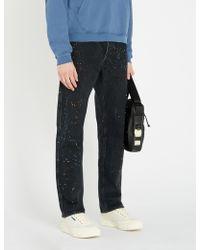 Reese Cooper Carpenter Paint-splattered Regular-fit Straight Jeans - Black