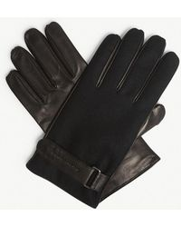 Emporio Armani - Leather And Wool Gloves - Lyst