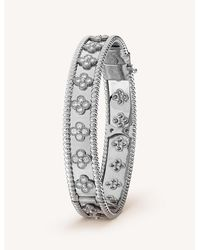 Van Cleef & Arpels Women's White Gold Perlée Clovers And Diamond Bracelet - Metallic