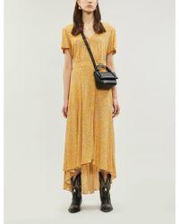 Ba&sh Betina Graphic-pattern Crepe Mini Dress - Yellow