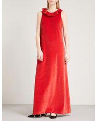 Merchant Archive - Frilled-neck Sleeveless Velvet Gown - Lyst