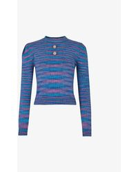 Beyond Retro Pre-loved Striped Knitted Jumper - Blue