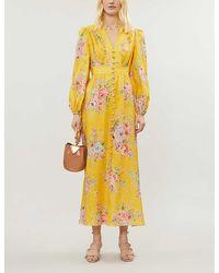 Zimmermann Zinnia Floral-print Linen Maxi Dress - Yellow