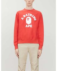 A Bathing Ape College Wide Cotton-jersey Sweater - Red