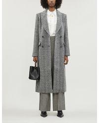 Reformation York Herringbone Wool-blend Coat - Gray