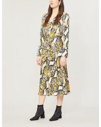 Ghost - Meryl Snakeskin-print Flared Satin Wrap Dress - Lyst