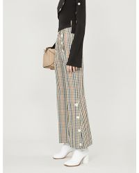 Awake - Gingham Check Flared Trousers - Lyst