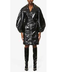 J Brand X Halpern Balloon-sleeve Leather Coat - Black