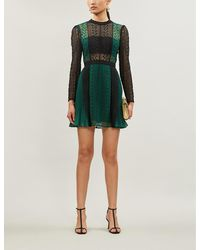 Self-Portrait Geometric Lace And Crepe Dress - Black