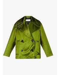 Dries Van Noten Relaxed-fit Cotton And Silk-blend Coat - Green
