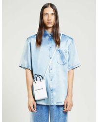 Balenciaga Denim-print Relaxed-fit Satin-crepe Shirt - Blue