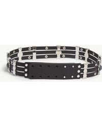Maje Amino Strass And Stone Leather Belt - Black