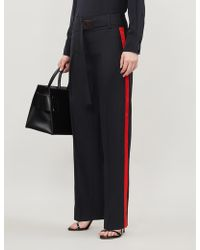 Victoria, Victoria Beckham Side-striped Tapered High-rise Wool-blend Pants - Blue