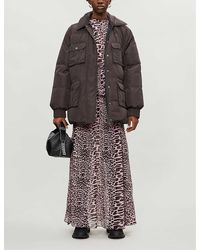 Ganni Animal-print Padded Shell-down Coat - Multicolor
