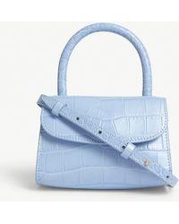 BY FAR Croc-embossed Leather Mini Tote - Blue