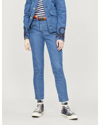 Benetton Embroidered-back High-rise Skinny Jeans - Blue
