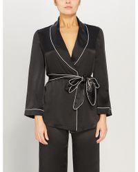 Agent Provocateur Classic Silk Pyjama Top - Black