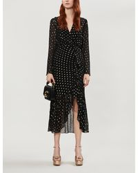 Sandro Loona Polka Dot-pattern Woven Midi Dress - Black